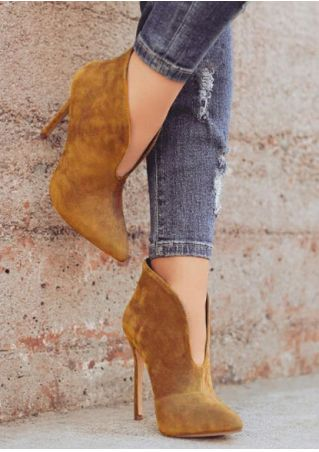 Solid Pointed Toe Heeled Boots