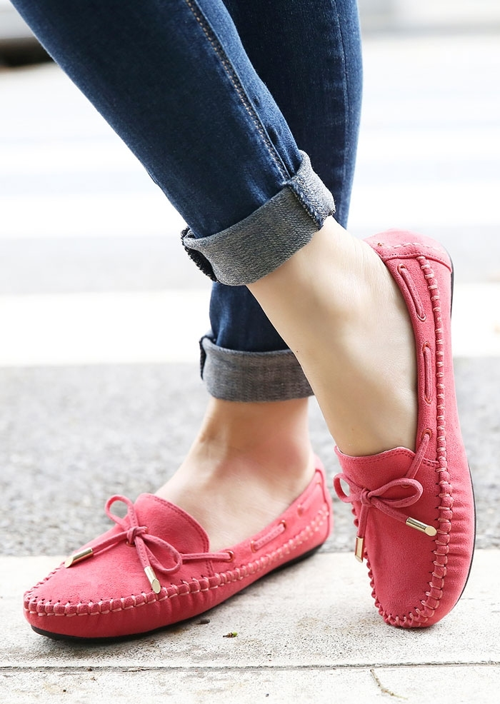 Solid Bowknot Round Toe Flats
