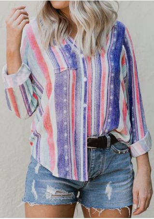 Multicolor Stripe Pocket Turn-Down Collar Shirt
