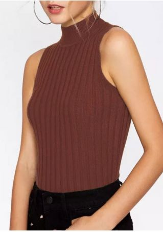 Solid Knitted Polo Neck Tank