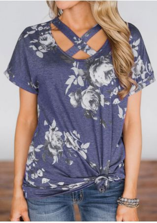 Floral Criss-Cross Short Sleeve Blouse