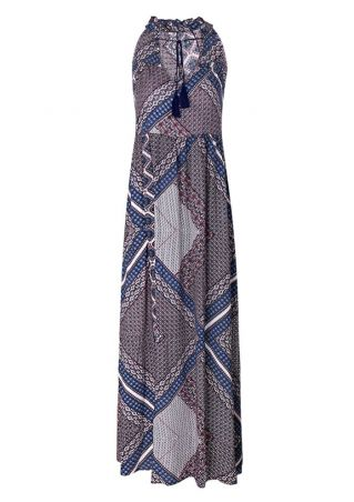 Geometric Tassel Sleeveless Maxi Dress