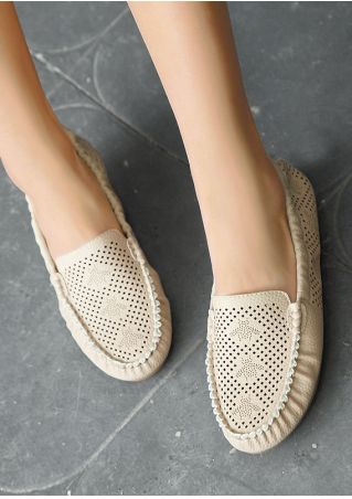 Solid Hollow Out Round Toe Flats