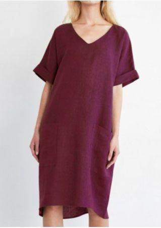 Solid Pocket V-Neck Casual Dress