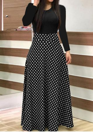 Polka Dot Splicing Maxi Dress