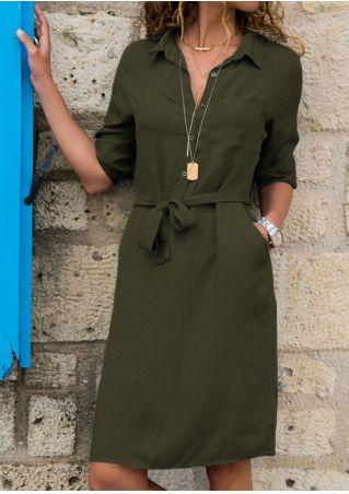 Solid Button Pocket Casual Dress sans Collier