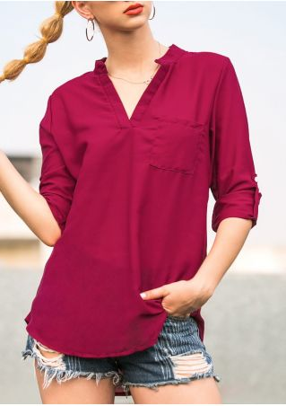 Solid Pocket Tab-Sleeve Blouse without Necklace