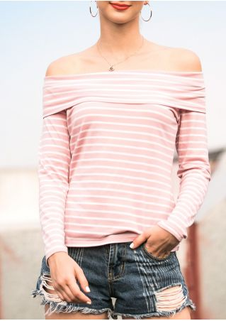 Striped Off Shoulder Blouse without Necklace