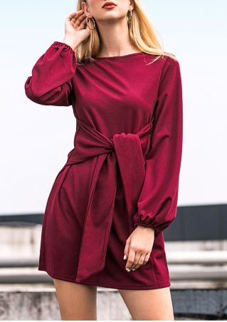 Solid Tie Long Sleeve Mini Dress