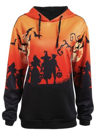 Halloween Plus Size Bat Pumpkin Hoodie
