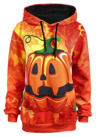 Halloween Plus Size Pumpkin Face Hoodie
