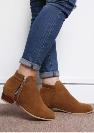 Solid Zipper Low-Heeled Boots