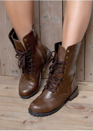 Solid Lace Up Flat Boots