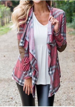 Plaid Splicing Shawl Collar Cardigan