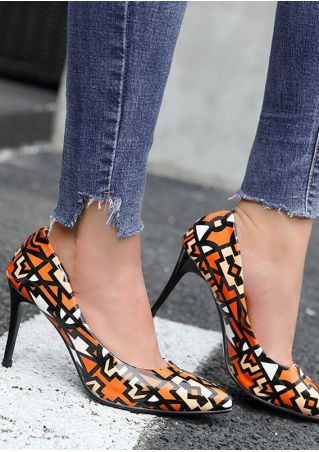 Printed Pointed Toe Heeled Pumps