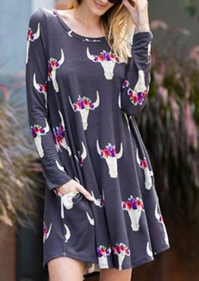 Floral Bull Pocket Mini Dress
