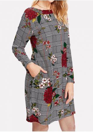 Floral Plaid Pocket Mini Dress without Necklace