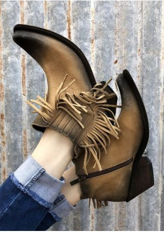 Fringe Zipper Pointed Toe Heeled Boots