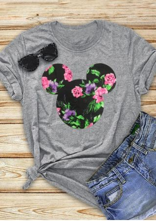 Floral Mouse Short Sleeve T-Shirt