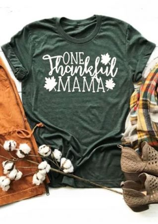One Thankful Mama Leaf T-Shirt
