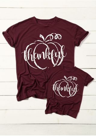 Kids Thankful Pumpkin O-Neck Short Sleeve T-Shirt