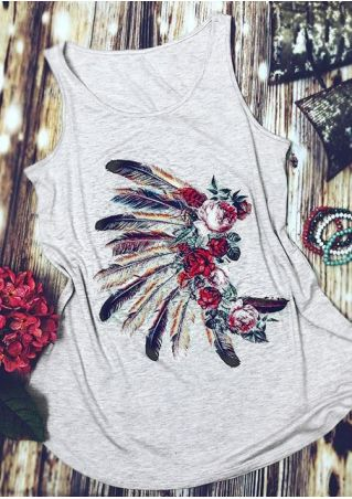 Floral Feather O-Neck Tank
