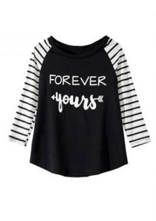 Kids Forever Yours Striped Baseball T-Shirt