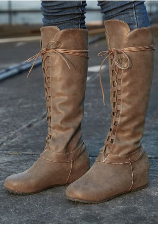 Solid Lace Up Riding Boots