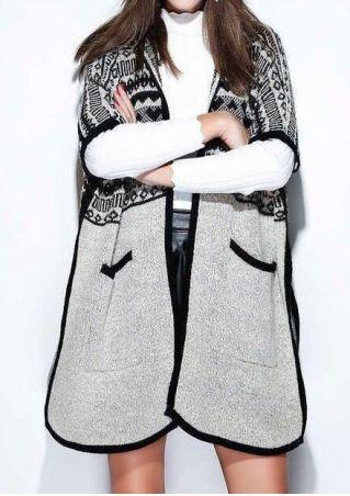 Geometric Knitted Slit Pocket Cardigan