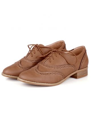 Solid Hollow Out Lace Up Brogue Shoes