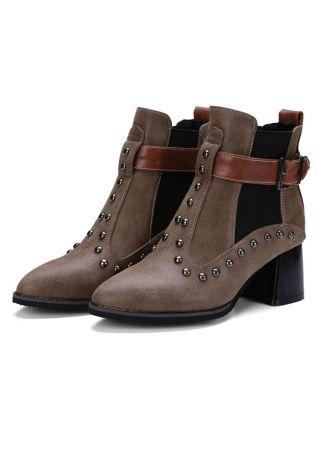 Rivet Buckle Block Heeled Boots