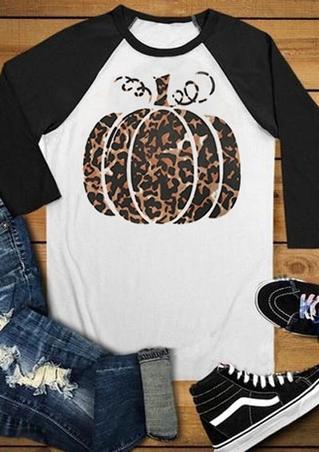 Pumpkin Leopard Printed Baseball T-Shirt