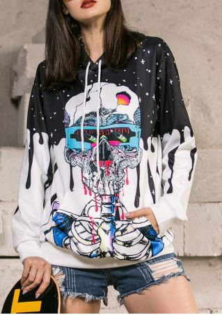 Halloween Unisex Skeleton Blood Pocket Hoodie