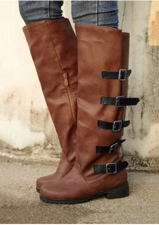 PU Buckle Zipper Low-Heeled Boots