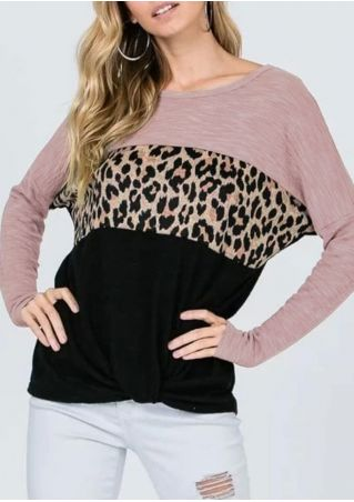 Leopard Printed Splicing Batwing Sleeve Blouse