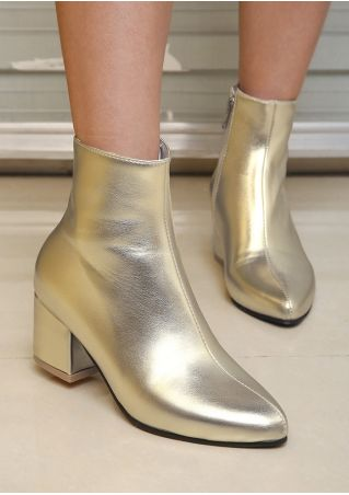 Solid Block-Heeled Ankle Boots