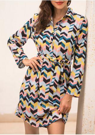 Zigzag Turn-Down Collar Mini Dress