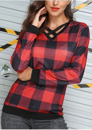 Plaid Splicing Criss-Cross V-Neck Blouse