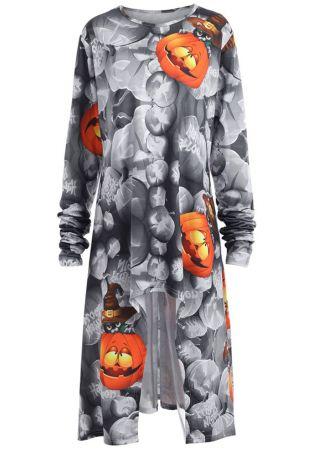 Plus Size Pumpkin Happy Halloween Casual Dress