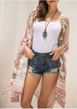 Floral Long Sleeve Cardigan without Necklace