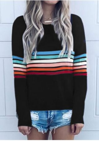 Striped O-Neck Long Sleeve T-Shirt without Necklace