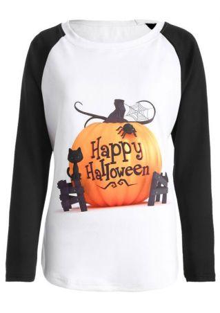Happy Halloween Pumpkin Baseball T-Shirt