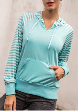 Striped Pocket Drawstring Hoodie without Necklace