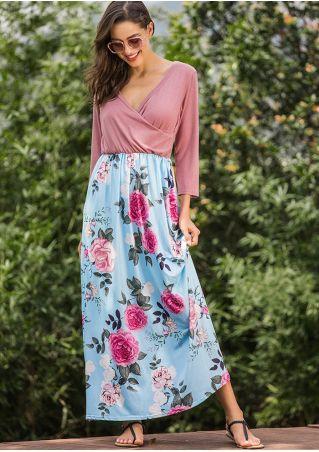 Floral Splicing Wrap Maxi Dress
