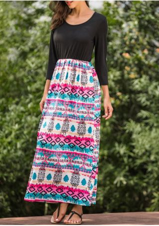 Printed Splicing Three Quarter Sleeve Maxi Dress