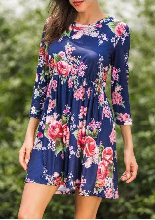 Floral Ruffled Three Quarter Sleeve Mini Dress