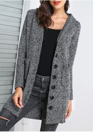 Solid Knitted Button Pocket Hooded Cardigan