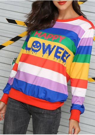 Happy Halloween Color Block Sweatshirt