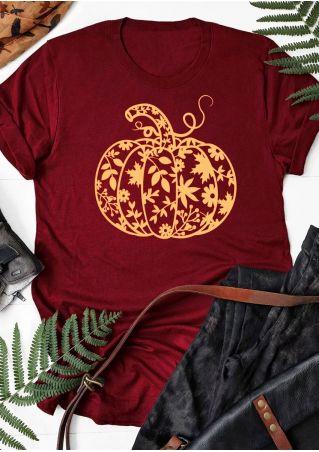 Pumpkin Leaf Short Sleeve T-Shirt