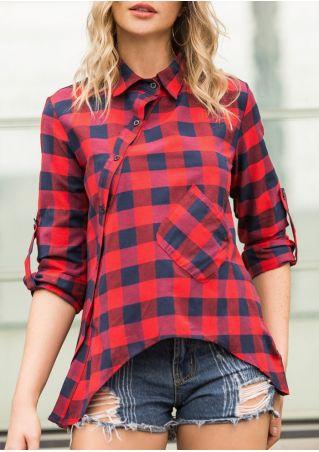Plaid Asymmetric Pocket Button Tab-Sleeve Shirt